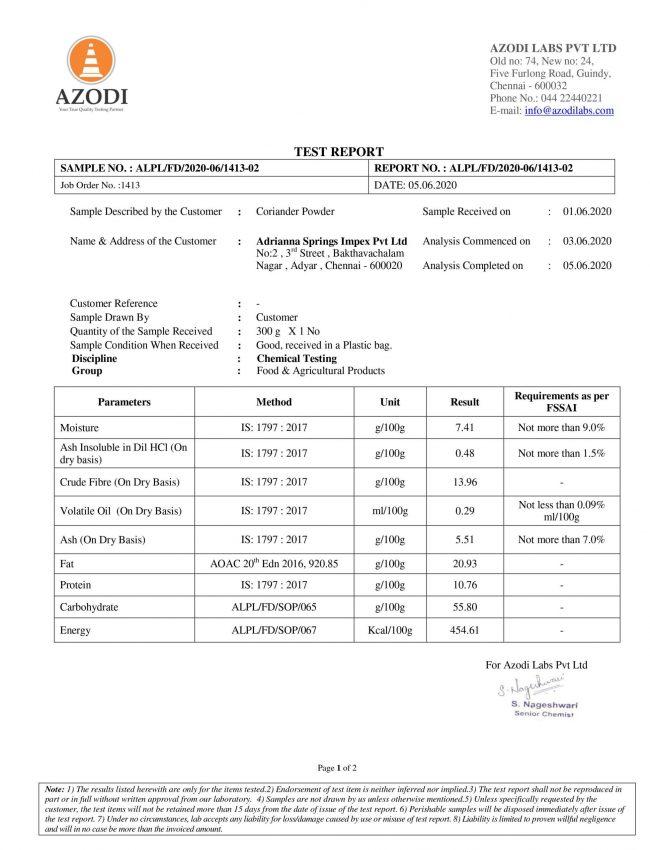 Coriander Powder - Report